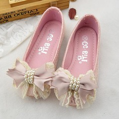 Flicka rund tå Microfiber läder platt Heel Platta Skor / Fritidsskor Flower Girl Shoes med Bowknot Oäkta Pearl