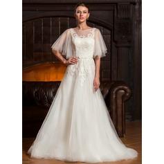 A-linjeformat Rund-urringning Sweep släp Tyll Bröllopsklänning med Rosett/-er Svallande Krås
