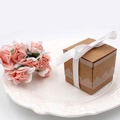 Forever Love Cuboid Card Paper Favor Boxes With Ribbons