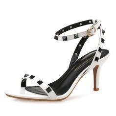 Женщины Лакированная кожа Высокий тонкий каблук Сандалии Босоножки с заклепки обувь (087093011)