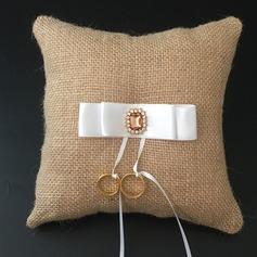 Eenvoudig Ring Kussen in Linnen met Linten/Steentjes