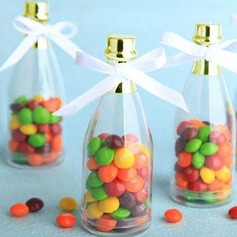 Champagne Bottle Cylinder Candy Jars and Bottles With Ribbons (Set of 12)