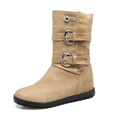 Women's Leatherette Low Heel Closed Toe Boots Ankle Boots Mid-Calf Boots With Rivet Buckle shoes