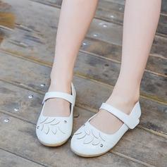 Jentas Lukket Tå Patent lær flat Heel Flate sko Flower Girl Shoes med Velcro