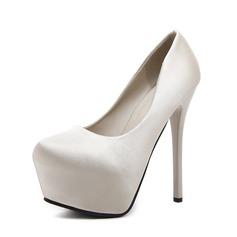Frauen Seide wie Satin Stöckel Absatz Absatzschuhe Plateauschuh Geschlossene Zehe Schuhe