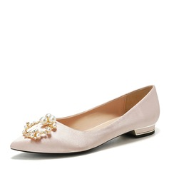 Women's Silk Like Satin Flat Heel Closed Toe With Buckle