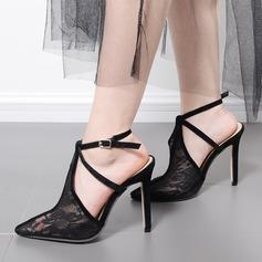 Femmes Dentelle Talon stiletto Sandales Escarpins Bout fermé avec Couture dentelle chaussures