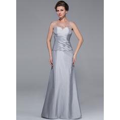 Trompete/Sereia Decote redondo Longos Tafetá Vestido para a mãe da noiva com Pregueado Bordado