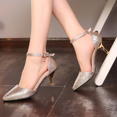Women's Sparkling Glitter Stiletto Heel Pumps With Crystal Buckle shoes