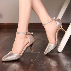 Frauen Funkelnde Glitzer Stöckel Absatz Absatzschuhe mit Kristall Schnalle Schuhe