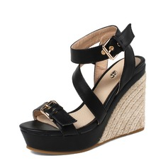Mulheres PU Plataforma Sandálias Bombas Plataforma Calços Peep toe Sapatos abertos com Fivela sapatos