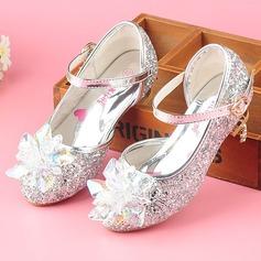 Flicka Stängt Toe sparkling blänker låg klack Pumps Flower Girl Shoes med Strass Glittrande Glitter Kardborre