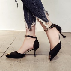 Frauen Veloursleder Stöckel Absatz Absatzschuhe Geschlossene Zehe mit Schnalle Schuhe