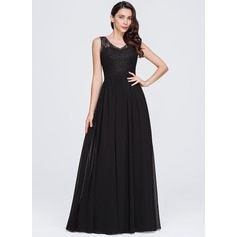 Vestidos princesa/ Formato A Decote V Longos De chiffon Vestido de festa