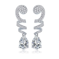 Beautiful Copper/Zircon/Platinum Plated Ladies' Earrings