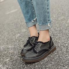 Женщины Кожа из микроволокна Плоский каблук На плокой подошве Закрытый мыс с Шнуровка кисточкой обувь