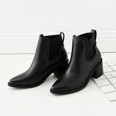Frauen PU Stämmiger Absatz Stiefelette mit Gummiband Schuhe