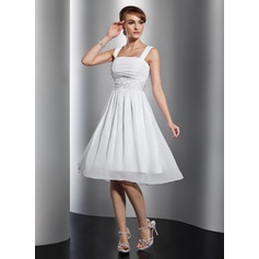 A-Line Square Neckline Knee-Length Chiffon Homecoming Dress With Ruffle Beading Appliques Lace (022014801)