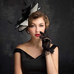 Damer' Elegant Fjäder/Tyll/Linné med Fjäder Fascinators/Kentucky Derby Hattar/Tea Party Hattar