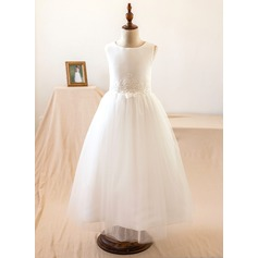 A-Line/Princess Tea-length Flower Girl Dress - Satin/Tulle/Lace Sleeveless Scoop Neck With Lace/Appliques (010104996)