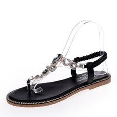 Женщины кожа Плоский каблук Сандалии На плокой подошве с горный хрусталь обувь
