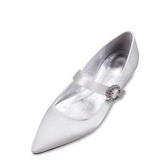 Women's Silk Like Satin Low Heel Closed Toe Flats MaryJane With Buckle