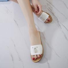 Kvinnor Konstläder Flat Heel Platta Skor / Fritidsskor Slingbacks Tofflor med Nita Stitching Lace skor