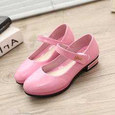 Mädchens Round Toe Geschlossene Zehe Leder Flache Ferse Flache Schuhe Blumenmädchen Schuhe mit Klettverschluss