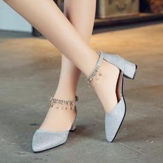 Frauen Funkelnde Glitzer Stämmiger Absatz Absatzschuhe Geschlossene Zehe mit Strass Schnalle Schuhe