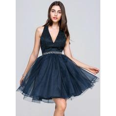 Vestidos princesa/ Formato A Cabresto Curto/Mini Tule Renda Vestido de boas vindas com Beading lantejoulas