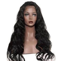4A non remy Ondulé Cheveux humains Perruques en dentelle pleine