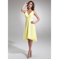 A-Line/Princess V-neck Asymmetrical Chiffon Bridesmaid Dress With Ruffle Beading