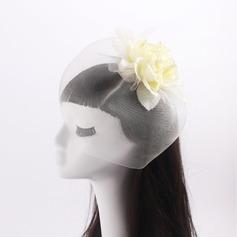 Senhoras Bonito Flor de seda/Tule com Falso pérola Fascinators