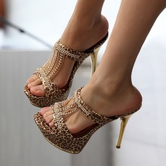 Women's Leatherette Stiletto Heel Sandals With Animal Print Tassel shoes