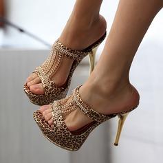 Frauen Kunstleder Stöckel Absatz Sandalen mit Tierdruckmuster Quaste Schuhe
