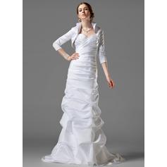 Vestido tubo Escote corazón Cola corte Satén Vestido de novia con Volantes