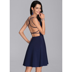 A-Line V-neck Short/Mini Stretch Crepe Homecoming Dress (022206534)