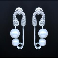 Unique Cuivre/Zircon de/De faux pearl/S925 Argent Dames Boucles d'oreilles