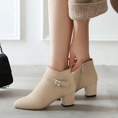 Femmes Suède Talon bottier Escarpins Bottes Bottines avec Cristal Zip chaussures