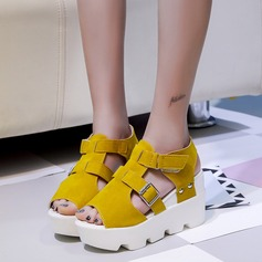 Kvinnor Mocka Kilklack Sandaler Kilar Peep Toe Slingbacks med Spänne skor