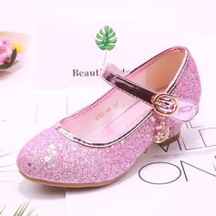 Girl's Round Toe Closed Toe Sparkling Glitter Low Heel Flower Girl Shoes