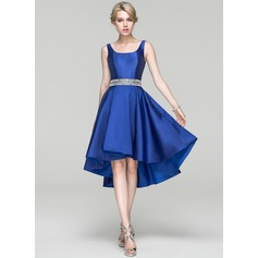 A-Line Square Neckline Asymmetrical Satin Cocktail Dress With Beading