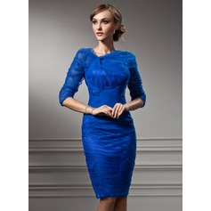 Sheath/Column V-neck Knee-Length Tulle Cocktail Dress With Ruffle (016021166)