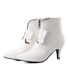 Women's Leatherette Low Heel Boots Closed Toe With Bowknot