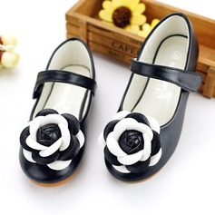 Girl's Round Toe Leatherette Flat Heel Flats Flower Girl Shoes With Velcro Flower