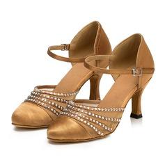 Женщины ткань На каблуках Сандалии Бальные танцы качать с Ремешок на щиколотке Обувь для танцев