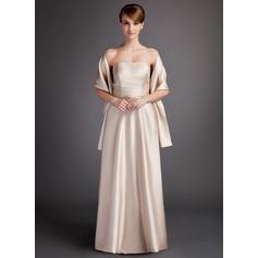 Трапеция/Принцесса Без лямок Длина до пола Шармёз Платье Подружки Невесты с Рябь