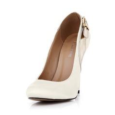 Cuero satén sedoso Tacón stilettos Salón Cerrados con Hebilla zapatos