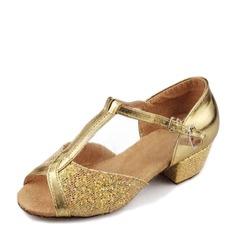Femmes Similicuir Pailletes scintillantes Sandales Latin avec Lanière de cheville Chaussures de danse