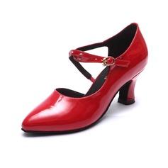 Mulheres Couro Brilhante Saltos Salão de Baile Sapatos de dança